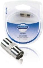 Zilveren Bandridge Antenna Coupler Coax Vrouwplug (IEC) Coax Vrouwplug (IEC) Chroom kabeladapter/verloopstukje