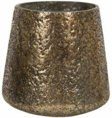 Clayre & Eef Glazen Theelichthouder 6GL2859 Ø 10*10 cm Goudkleurig Glas Rond Waxinelichthouder Windlichthouder