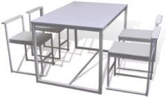 VidaXL eetkamerset tafel en stoelen 5-delig - wit - 4 stoelen 1 eettafel