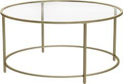 MIRA Home - Salontafel rond - Klassiek - Salontafel glas - Elegant - Doorzichtig - Metaal - Goud - 45x15x10