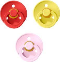 Donkerrode BIBS fopspeen 0-6 maanden |Set 3 stuks|Strawberry, Pineapple, Baby Pink|Maat 1|T1