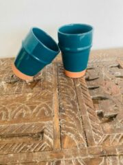 Moroccan Garden Handgemaakte Marokkaanse Mok | Terracotta | Blauwe Koffie Mok | Set van 2