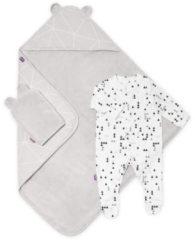 Grijze Snuz Baby bad en bed set - Geo Mono - handdoek en slaappakje