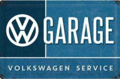 Blauwe Nostalgic Art Merchandising VW Garage Metalen Postcard 10x14 cm