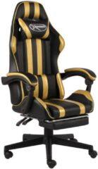 VidaXL Racestoel met voetensteun kunstleer zwart en goudkleurig VDXL 20528