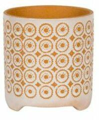 NDT International Pot Byron Orange 16x17 cm oranje met witte ronde bloempot voor binnen