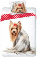 Witte Faro Yorkshire Terrier dekbedovertrek - eenpersoons met 1 kussensloop - 100% katoen
