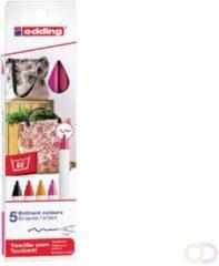 Rode Edding Textielstiften - 5 warme kleuren textielmarkers - Ronde punt van 1 mm