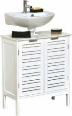 Witte Gebor Miami Design Wastafelmeubel met 2 deuren + 1 plank - MDF - 70x60x30cm - Badkamer - Badmeubel – Wastafel – Organizer – Opbergen - Douche