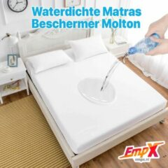 EmpX.nl Waterdicht Matrasbeschermer 200x200 - Hoeslakenbadstof - Antibacteriëel - Rondom Elastiek - Wit - Waterdichte Matras Beschermer Molton/Incontinentie Matrasbeschermer - 200x200