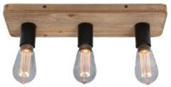 Zandkleurige Freelight Plafondlamp Lenero 3 Lichts L 50 cm hout zwart