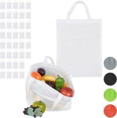 Relaxdays 40 x boodschappentas - stoffen tas - effen gekleurd opvouwbaar - 50x40 – wit