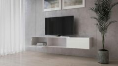 Maxima House VIGO II Zwevend TV Meubel - TV Meubel Hoogglans Wit / Wit - TV Kast Meubel - Modern Design - 30x180x40 cm - Inclusief LED - Inclusief Glas - Modern Design