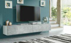 Pro-meubels - Zwevend Tv-meubel - Tv kast - Tunis - Wit - Betonlook - 200cm - 2x100cm