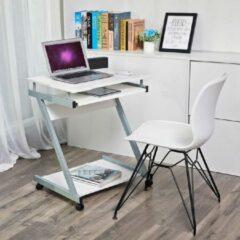 Acaza Compacte Laptop Bureau op Wielen voor Kleine Ruimtes - 73 cm Hoog en 60 cm Breed - Wit