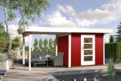 Weka tuinhuis met overkapping 172 Type B GR2 rood 300x530cm