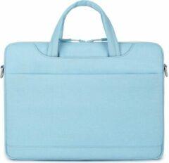 Lichtblauwe Mac-cover.nl 13 inch laptoptas met schouderband en extra vak - Licht Blauw