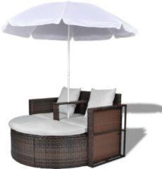 VidaXL - Tuinset 40734 Wicker Loungebed set met parasol (bruin)