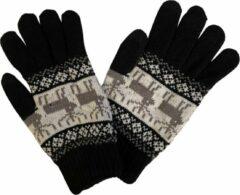 Fashionhouse Hoge Kwaliteit Winter Handschoenen | Rendier Print | Zwart