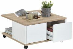 FD Furniture Vierkante salontafel Twin 70x36x70 breed in eiken met wit
