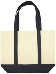 Beige canvas basic schouder tas 47 x 39 cm - Shopper