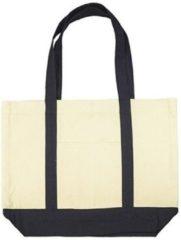 Merkloos / Sans marque Beige canvas basic schouder tas 47 x 39 cm - Shopper