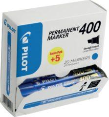 Pilot permanent marker 400, XXL doos met 15 + 5 stuks, blauw