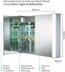 Zilveren Neue Design - Badkamerspiegelkast met LED-verlichting - CABM13 - H65cm X B80cm X D16cm - Draadloze anticondens - scheerstopcontact en sensorschakelaar met verlic
