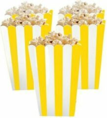 Stemen Popcorn bakjes geel 6 stuks -16 cm hoog - Popcornbakjes/chipsbakjes/snackbakjes kinderverjaardag/kinderfeestje.