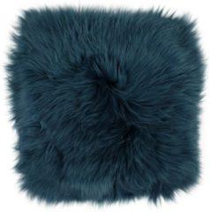 Dutchskins Stoelkussen schapenvacht - zitkussen schapenvacht blauw vierkant - stoelpad - zetelkussen