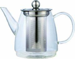 Zilveren KINGHOFF Elegante glazen theepot met RVS filter - 900 ML - hoogwaardig borosilicaatglas, kan op warmtebron geplaatst worden - vaatwasserbestendig
