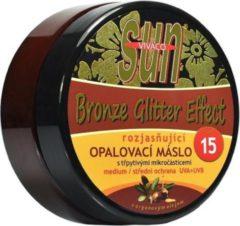 VIVACO SUN Zonnebrandcrème met Arganolie en Glitters, SPF15 - waterbestendig - 200ml - voor een intense, snelle, langdurige en mooie bruine teint van de huid.