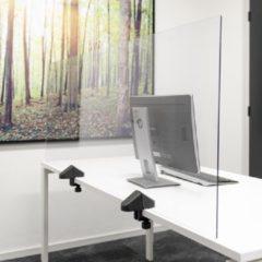 Transparante SMIT VISUAL Scheidingsscherm plexiglas 58x160 cm voor bureau/tafel, inclusief bureauklemmen dubbel bureau