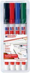 Rode Edding 4-400-4 Permanent marker Zwart, Rood, Groen, Blauw Puntvorm 1 mm (max) 4 stuks