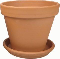 Plantenwinkel.nl Plantenwinkel Terracotta pot met schotel 23 cm mono set bloempot voor binnen en buiten