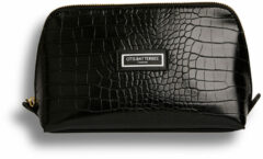 Otis Batterbee The Beauty Makeup Bag L- Toilettas - Vegan leer & gerecycelde voering - Zwart Croc