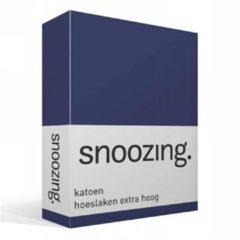 Marineblauwe Snoozing - Katoen - Extra Hoog - Hoeslaken - Eenpersoons - 80x200 cm - Navy