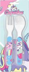 Kids Licensing Bestekset Cupcakes Meisjes 12 Cm Wit 2-delig