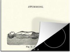 KitchenYeah Luxe inductie beschermer Zwemmen illustratie - 60x52 cm - Een historische illustratie van een man die leert drijven bij het zwemmen - afdekplaat voor kookplaat - 3mm dik inductie bescherming - inductiebeschermer