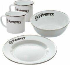 Petromax kampeer servies geëmailleerd 2X mok + 2X bord + 2X schaaltje wit