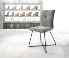 DELIFE Stoel Maddy-Flex X-frame zwart fluweel grijs