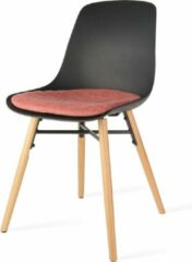 Nolon Nena eetkamerstoel - Zwarte zitting en terracotta rood zitkussen