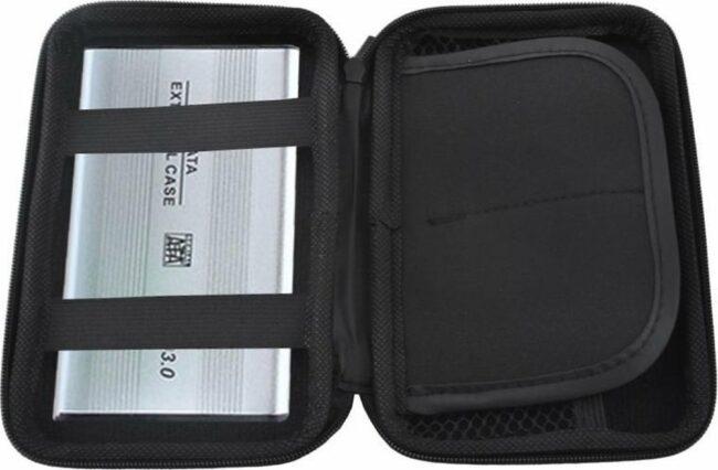 Afbeelding van AA Commerce Harde Schijf Hard Cover Tas - Externe HDD / SDD Hoes - Harddisk Beschermhoes Carry Case - 2.5 Inch - Zwart