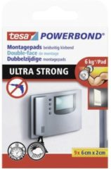 9x Tesa dubbelzijdig montagetape pads wit extra sterk 6 x 2 cm - Klusmateriaal - Huishoudartikelen - Tesa Powerbond - Montagetape - Extra sterk - Dubbelzijdig tape