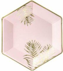 Partydeco Poland Borden Leaves, licht roze, 23cm (1 zakje met 6 stuks)