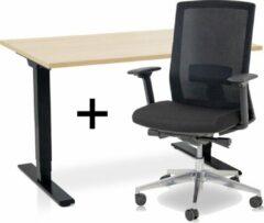 Lineaflex MRC Zit-sta bureau elektrisch verstelbaar + ERGO Bureaustoel | ARBO COMFORT Thuiswerkset | frame bureau zwart - bureaublad wild peren | 140x80 cm