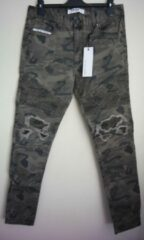 Groene Nena & Pasadena Combination Slim Biker Jean - Camouflage - Maat 33