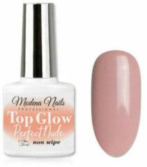 Huidskleurige Modena Nails Top Coat Gellak Glow Non Wipe - Perfect Nude 7,3ml.