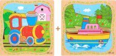 Aslan® 2 Houten Puzzels van 16 stukjes | Legpuzzels | Boot en Trein | Kinderen | Peuters | Kleuters