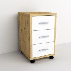 VidaXL Ladekast verplaatsbaar artisan eikenkleurig en brilliant wit